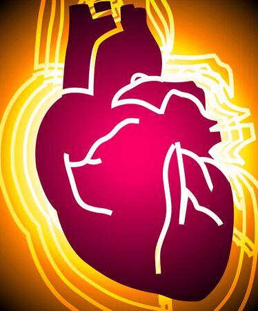 radiant light: Illustration of heart in radiant light