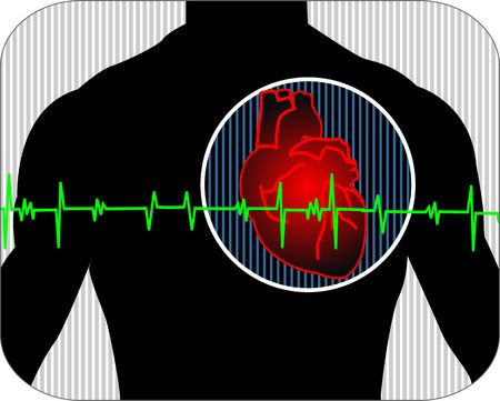 ventricle: Illustration of heart with pulse graph