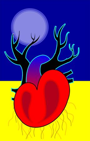 heart under: Illustration of heart under moonlight