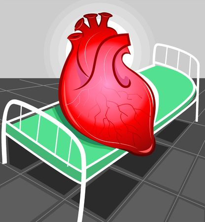 Illustration of heart in hospital bed Stock Illustration - 3389850