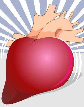 Illustration of heart with beam background Stock Illustration - 3389629
