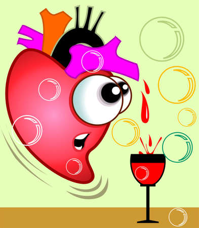 imaginativeness: Illustration of heart pouring blood to goblet