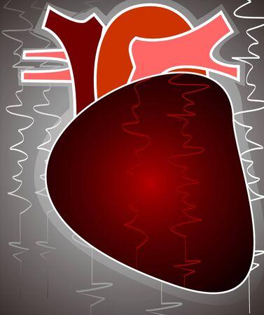 Illustration of heart in grey background Stock Illustration - 3389775