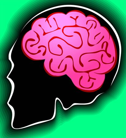 Illustration of human brain in green background Stock Illustration - 3389841
