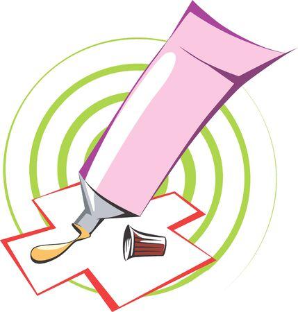 Illustration of applying medicinal cream on bandage
