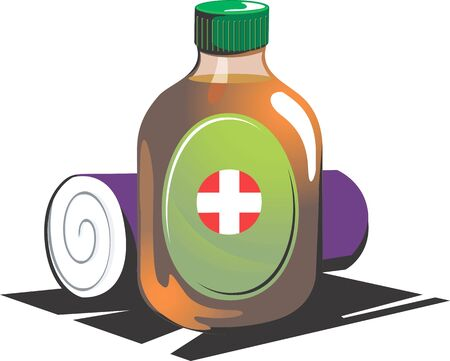 bandaging: Illustration of cleaning liquid and cotton cleaning material  Stock Photo