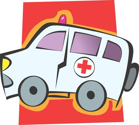 Illustration of an ambulance using for emergency