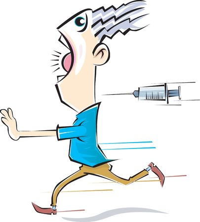 man running away from a syringe injection.