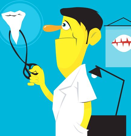 Illustration of doctor testing teeth with stethoscope  illustration