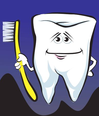 cleanse: Illustration of teeth  holding toothbrush in hand
