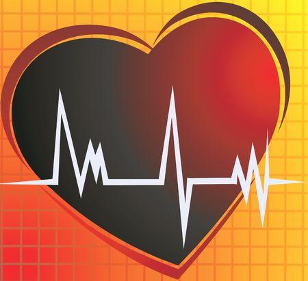 myocardium: Illustrazione di un cuore e il cuore pulsa