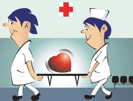 jokes: Illustration of two nursing assistants carrying a heart symbol in a stretcher  Stock Photo