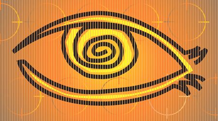 conjunctiva: Illustration of eye in yellow background