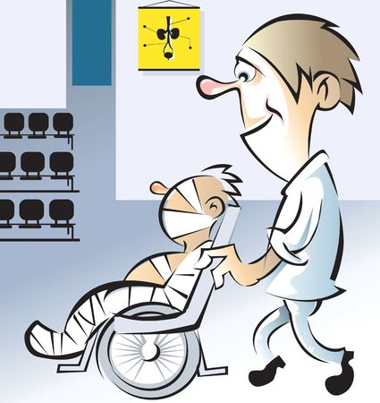 Illustration of attendee is taking a patient to clinic in a wheelchair  Stock Illustration - 3390210