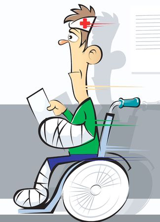 Illustration of taking a patient to clinic in a wheelchair  Stock Photo