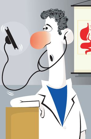 body concern: Illustration of a doctor looking to his stethoscope