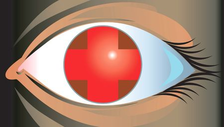 Illustration of eye with red cross in it   Stock Photo