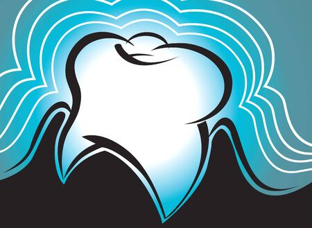 body concern: Illustration of teeth in wave blue background