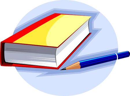 hard cover: Illustration of a pencil and hard cover book