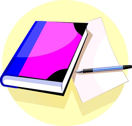 hard cover: Illustration of a pen and hard cover book