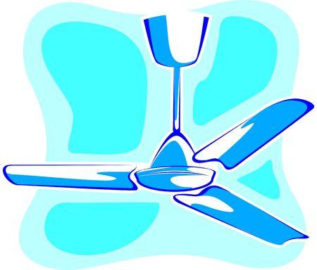 ceiling fan: Illustration of blue Ceiling fan