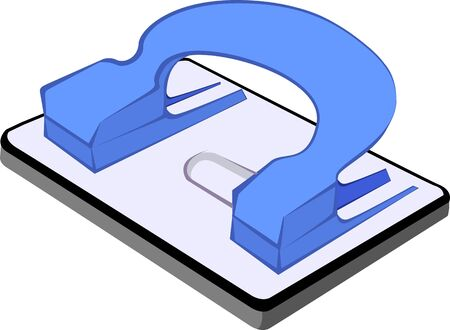 hole puncher: Illustration of a blue coloured paper punch