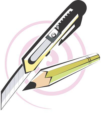 cutlass: Illustration of a pencils and paper cutter