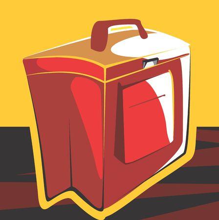 saddlebag: Illustration of a red leather bag
