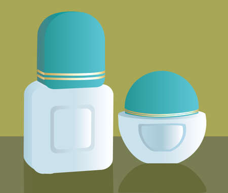 Illustration of two make up containers  illustration