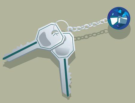 Illustration of two silver keys and a diamond locket  illustration