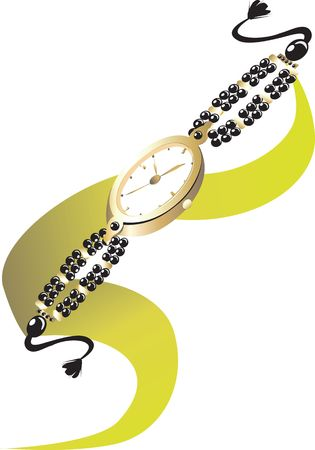 time keeping: Illustration of beautiful stylish ladies watch with pearl strap  Stock Photo