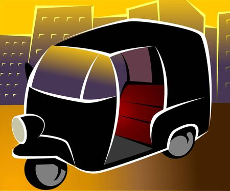 auto rickshaw: Illustration of a three wheeler auto rickshaw  Stock Photo