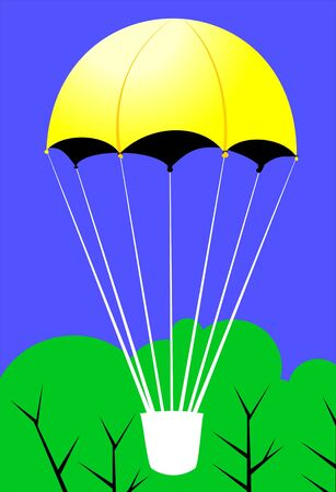 Illustration of a yellow hot air balloon in air Stock Illustration - 3390273