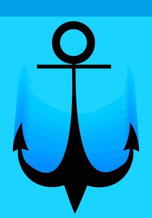 mooring anchor: Illustration of a black anchor in water