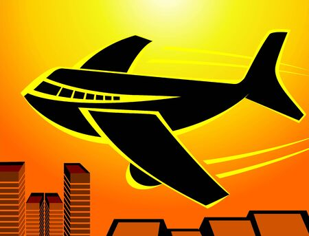 aviations: Illustration of an aeroplane in yellow background