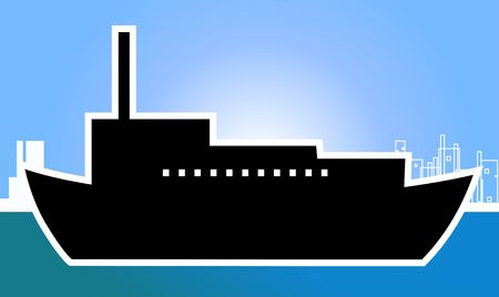 keel: Illustration of a ship with black super structure in a harbour  Stock Photo