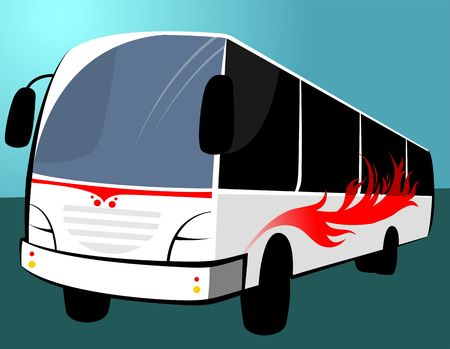 high society: Illustration of a white transport bus