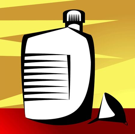 lube: Illustration of a funnel and container