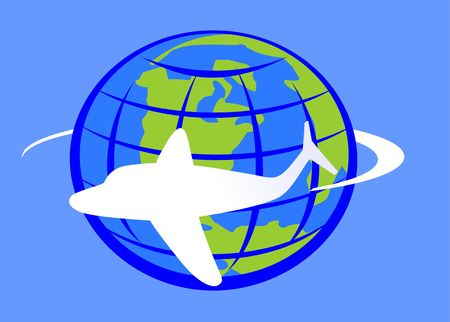 aviations: Illustration of an aeroplane in blue background around globe