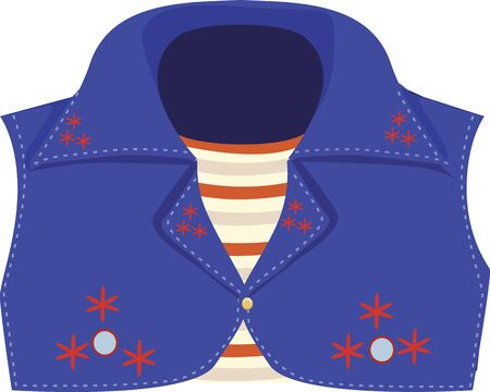 frill: Illustration of a blue coloured coat with striped inner clothing