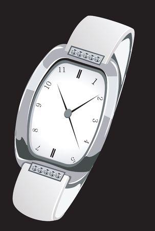 Illustration of a stylish silver wrist watch  Stock Photo