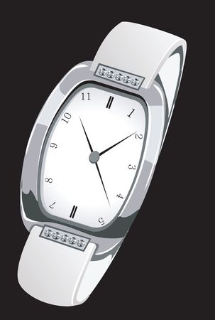time keeping: Illustration of a stylish silver wrist watch  Stock Photo