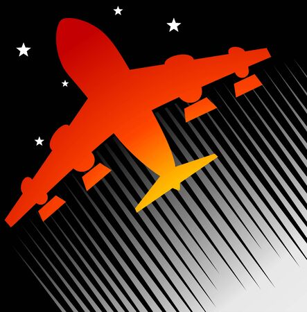 aviations: Illustration of a red aeroplane in black background