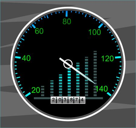 kilometre: Illustration of a tachometer with white needle