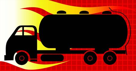 Illustration of a fuel carrying tanker lorry  illustration