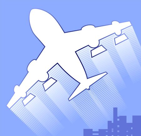 aviations: Illustration of an aeroplane in blue background
