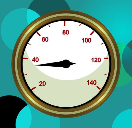kilometre: Illustration of a tachometer with black needle  Stock Photo