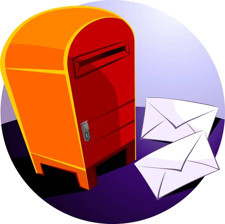 Illustration of envelopes for mail near post box