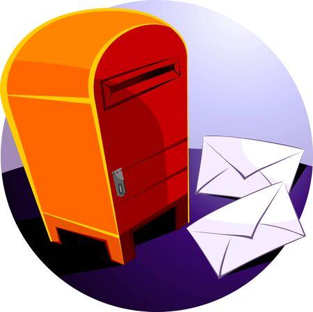 postoffice: Illustration of envelopes for mail near post box