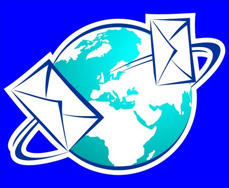 postoffice: Illustration of a envelope for mail and earth